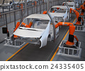 電動汽車的裝配工廠圖像。 3D渲染圖像。 24335405