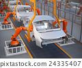 電動汽車的裝配工廠圖像。 3D渲染圖像。 24335407