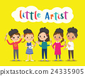 isolated kids children with painting tools cartoon 24335905