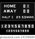 Football score board with white analog flip number 24336680