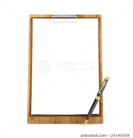 Wooden clipboard with blank papers and pen 24340594