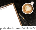 Cappuccino coffee with blank papers on clipboard 24340677