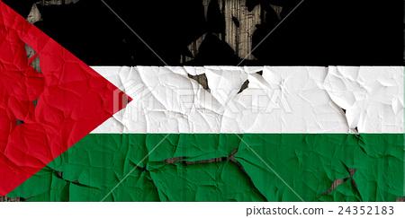 裂開牆上的巴勒斯坦國旗特寫紋理背景(高分辨率 3D CG 渲染∕著色插圖) 24352183