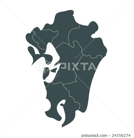 九州地圖_苔綠色 24356274