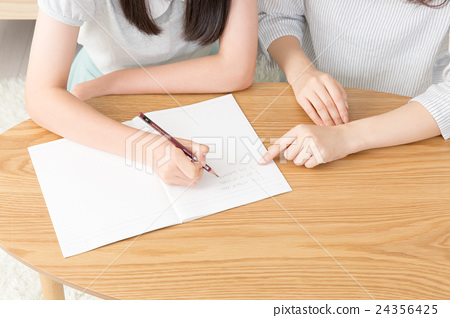 Junior high school student and mother study 24356425