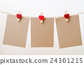 Blank paper hanging on heart clothesline  24361215