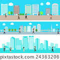 Illustration set of office town and businessman 24363206