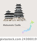 Japan Famous Castle Vector - Matsumoto Castle 24366019