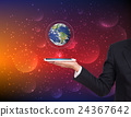 Businessman hands holding tablet with Earth planet 24367642