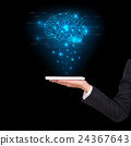 Close-upof business man brain with tablet in hand 24367643