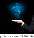 Close-up of business man brain with tablet in hand 24367644