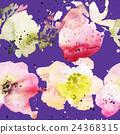 Strawberry flowers seamless pattern watercolor 24368315