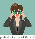 Woman use binoculars looking for business future 24368517