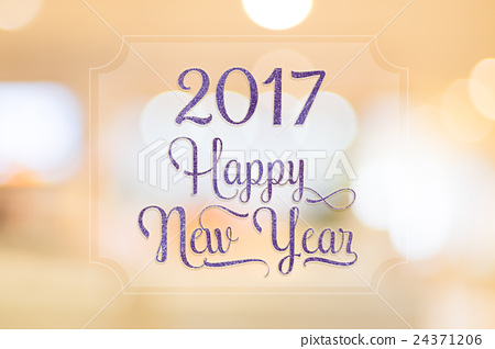 Nice Happy New Year 2017 Glitter Word On Frame