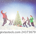 Christmas Snowball Fight Winter Friends Yuletide Concept 24373679