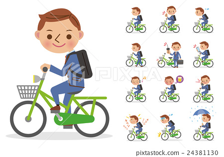 Pose set of a businessman riding a bicycle (13 types) 24381130