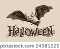 Vintage halloween bat horizontal banner, header 24381225