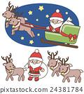 데포 산타 클로스와 순록 세트 크리스마스 소재 흰색 배경 · 배경 투명 벡터 24381784