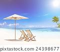 海灘 折疊式躺椅 自然 24398677