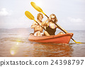 Kayaking Adventure Happiness Recreational Pursuit Couple Concept 24398797