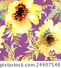 sunflower seamless watercolor 24407546