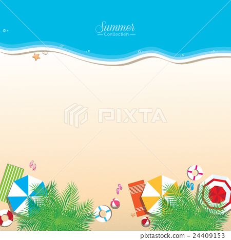 Colorful Summer Beach Vector Background Top View Stock