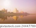 Beautiful Scenery Of Taj Mahal And A Body Of Water Concept 24447789