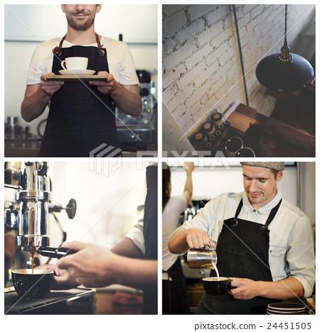 Stock Photo: Coffee Cafe Bar Barista Apron Drinking Barista Concept