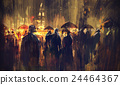 crowd of people with umbrellas at night 24464367