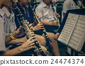 Close up of Clarinetist performance which is some part of classic music band when rehearsal, musical concept,vintage color tone 24474374