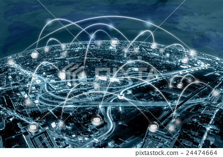 Network connection line between building over the top view of network connection line between building over the top view of cityscape background and world map background which dicut each elements cool tone color gumiabroncs Choice Image