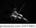 Close up Violin player in dark studio, Musical concept 24474801