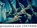 Close up of Clarinetist performance which is some part of classic music band when rehearsal, musical concept 24474906
