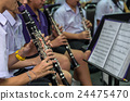 Close up of Clarinetist performance which is some part of classic music band when rehearsal, musical concept 24475470