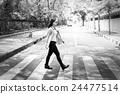 Woman Sightseeing Walking Crosswalk Lifestyle Concept 24477514