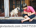 Boy Playful Doggy Friend Togetherness Concept 24477559