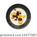 Breakfast food of Soybean milk with Gingko, strawberries, currant mix with banana in small bowl over white background, Top view of healthy food concept, include clipping path 24477987