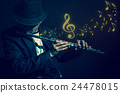 Flute music playing flutist musician performer with music notes on black background, musical instrument 24478015