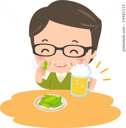 中年男子喝啤酒 24481115