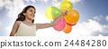 Happy Girl Dozen Helium Balloons Playful Concept 24484280