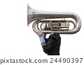 A man playing a Euphonium isolated on white. Saved with clipping path 24490397