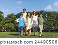 Family Playing Outdoors Children Field Concept 24490506