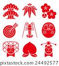 吉祥物 幸運符 新年賀卡 24492577