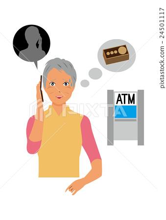 A woman answering a suspicious phone 24501117