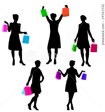shopping girls silhouettes 24501592