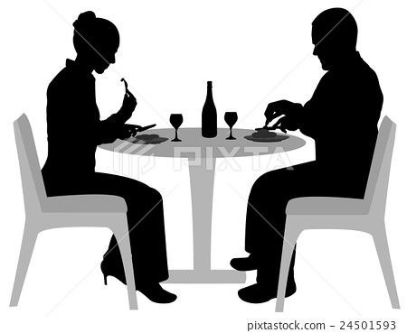 couple sitting and dining silhouettes 24501593