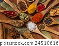 咖哩的印地安香料小組照片香料印度盤 24510616