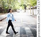 Woman Sightseeing Walking Crosswalk Lifestyle Concept 24547137