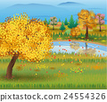 Autumn nature landscape with forest and lake. 24554326