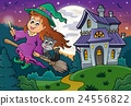 Cute witch on broom near haunted house 24556822